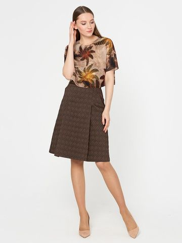 Фото коричневая юбка с боковыми карманами и складками из вискозы - Юбка Б050-372 (1)