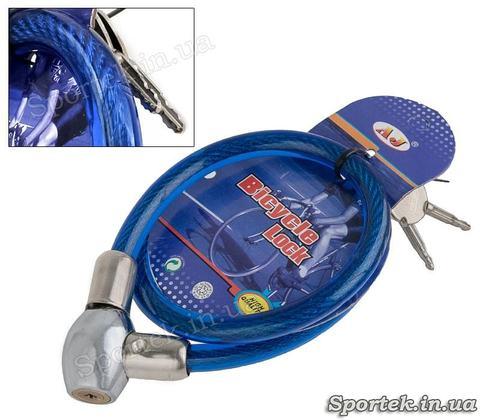 Велозамок з ключем на сталевому тросі 10 х 550 мм з вініловим покриттям - синій