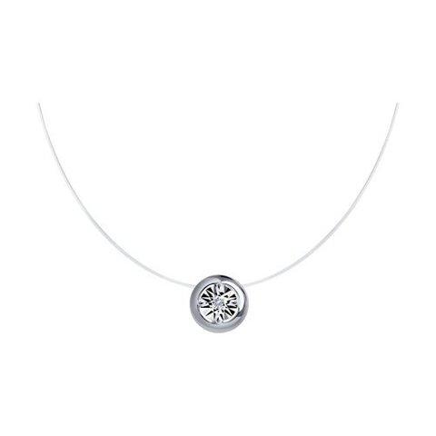 87070018 - Колье-леска невидимка из серебра с бриллиантом