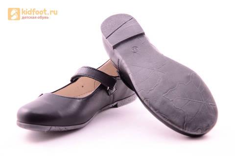 Туфли для девочек из натуральной кожи на липучке Лель (LEL), цвет черный. Изображение 11 из 18.