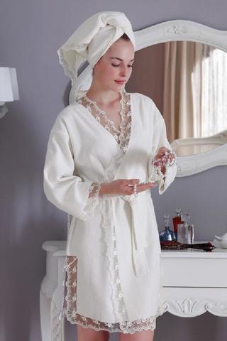 НАБОР BIANCA махровый женский халат и полотенце Tivolyo Home (Турция)