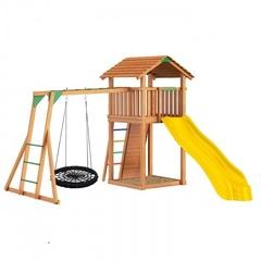 Детская площадка Jungle Cottage + Rock + рукоход с гнездом