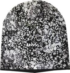 Женская летняя шапка-бини из вискозного трикотажа с узором цветы черно-белые