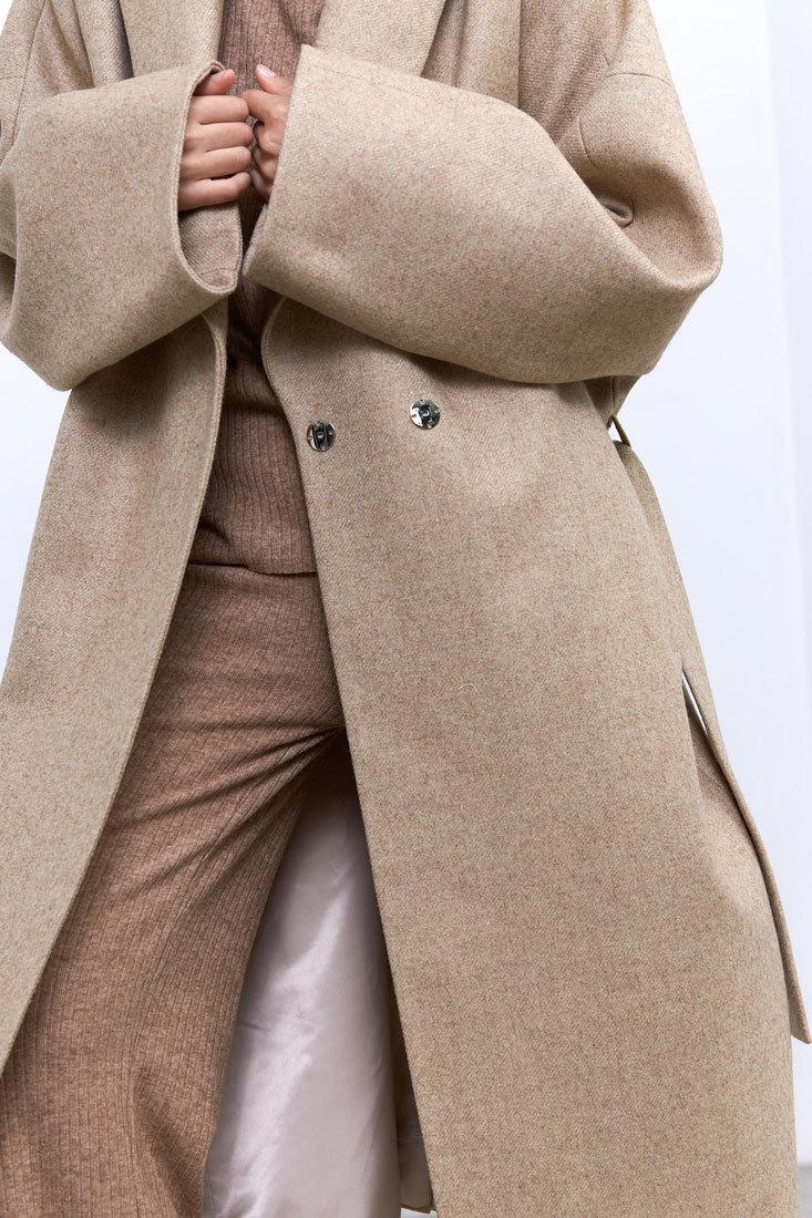 Пальто с комбинированным рукавом, светло-бежевый