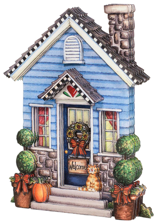 Папертоль Домик с котенком — собранная модель, вид спереди