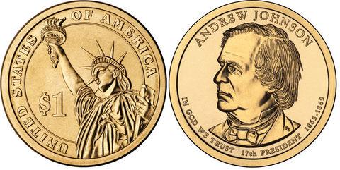 1 доллар 17-й президент США Эндрю Джонсон 2011 год
