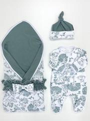 СуперМамкет. Комплект для выписки с комбинезоном, шапочкой и пледом Оленята с поясом вид 2
