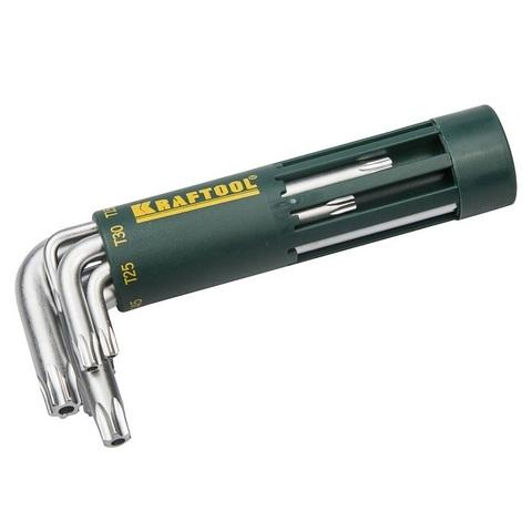 Набор KRAFTOOL: Ключи имбусовые короткие, Cr-Mo сталь, держатель-рукоятка, TORX Hole, T10-T50, 8 пред
