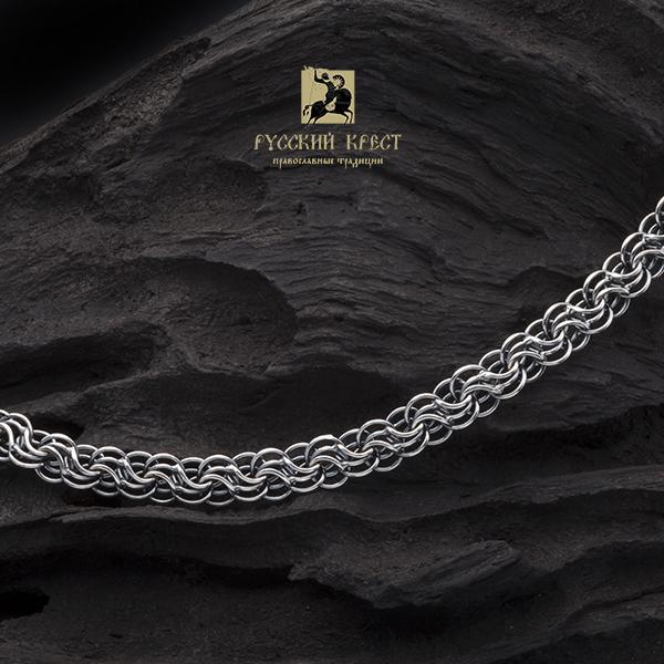 купить цепь на шею мужскую серебро Сармат