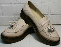 Красивые женские туфли лоферы с кисточкой Markos S-6 Light Beige.