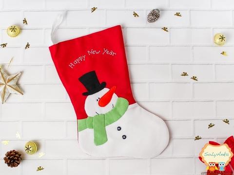 Різдвяна шкарпетка червона. Сніговик.
