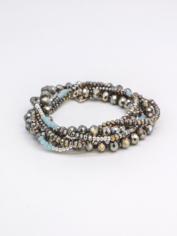 Многослойный браслет из крупного и мелкого коричневого хрусталя, голубого хрусталя с серебром и коричневым бисером  оптом и в розницу