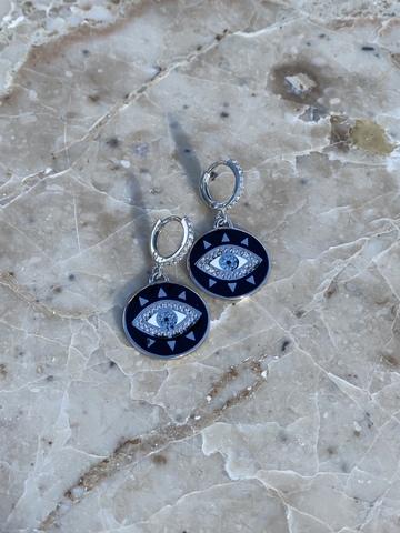 Серьги Око из серебра, черная эмаль