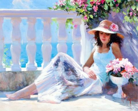 Алмазная Мозаика 40x50 Девушка в шляпе на отдыхе