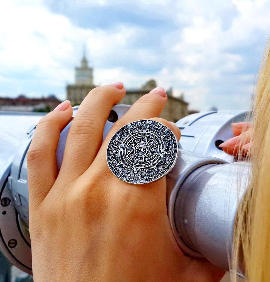Mayan calendar ring, 35mm, sterling silver