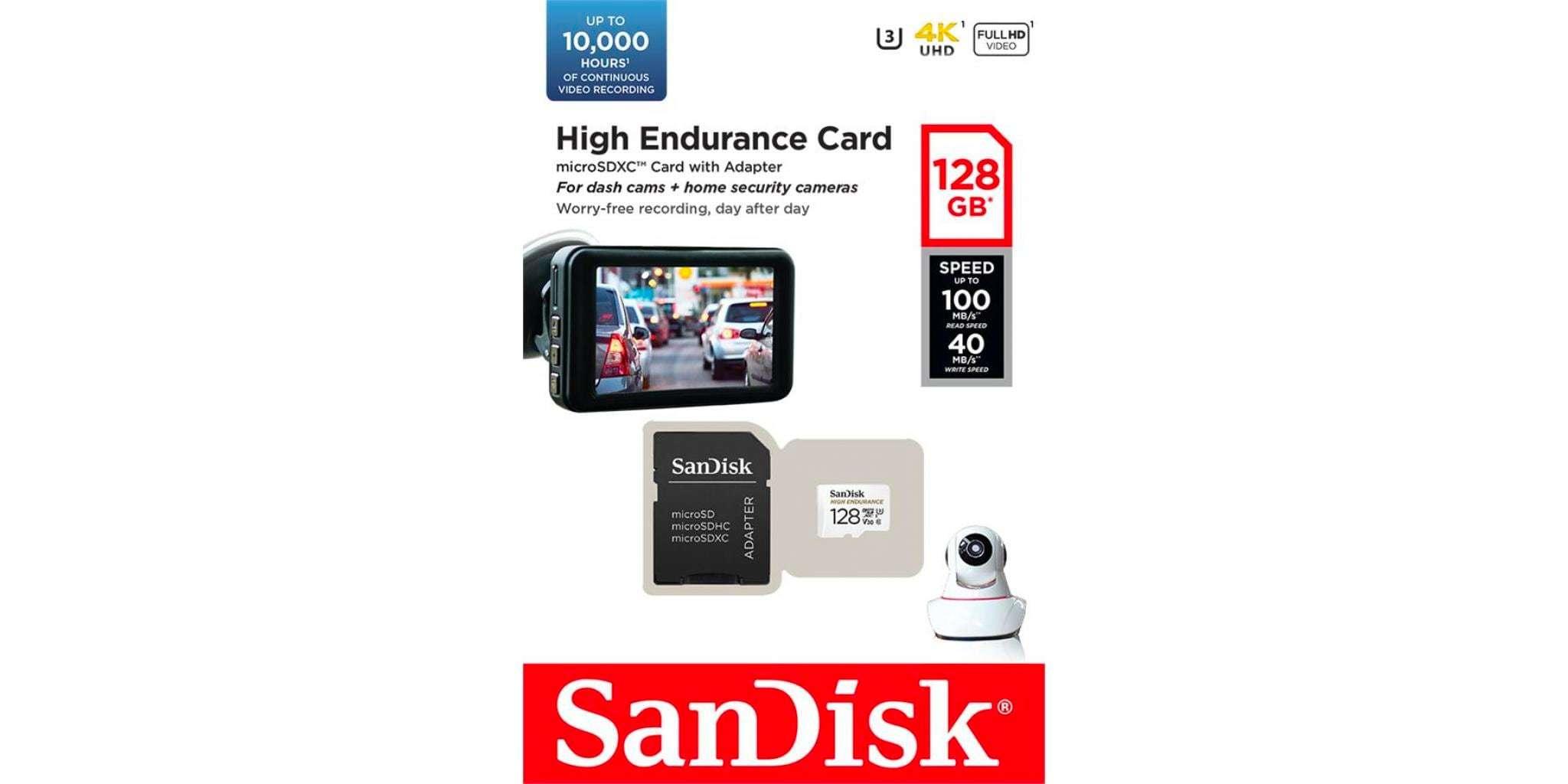 Карта памяти microSD 128GB SanDisk microSDXC Class 10 UHS-I U3 V30 High Endurance Video Monitoring Card