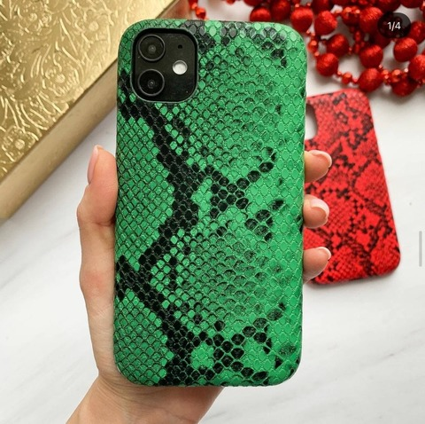 Чехол iPhone X/XS Leather Reptile case /green/