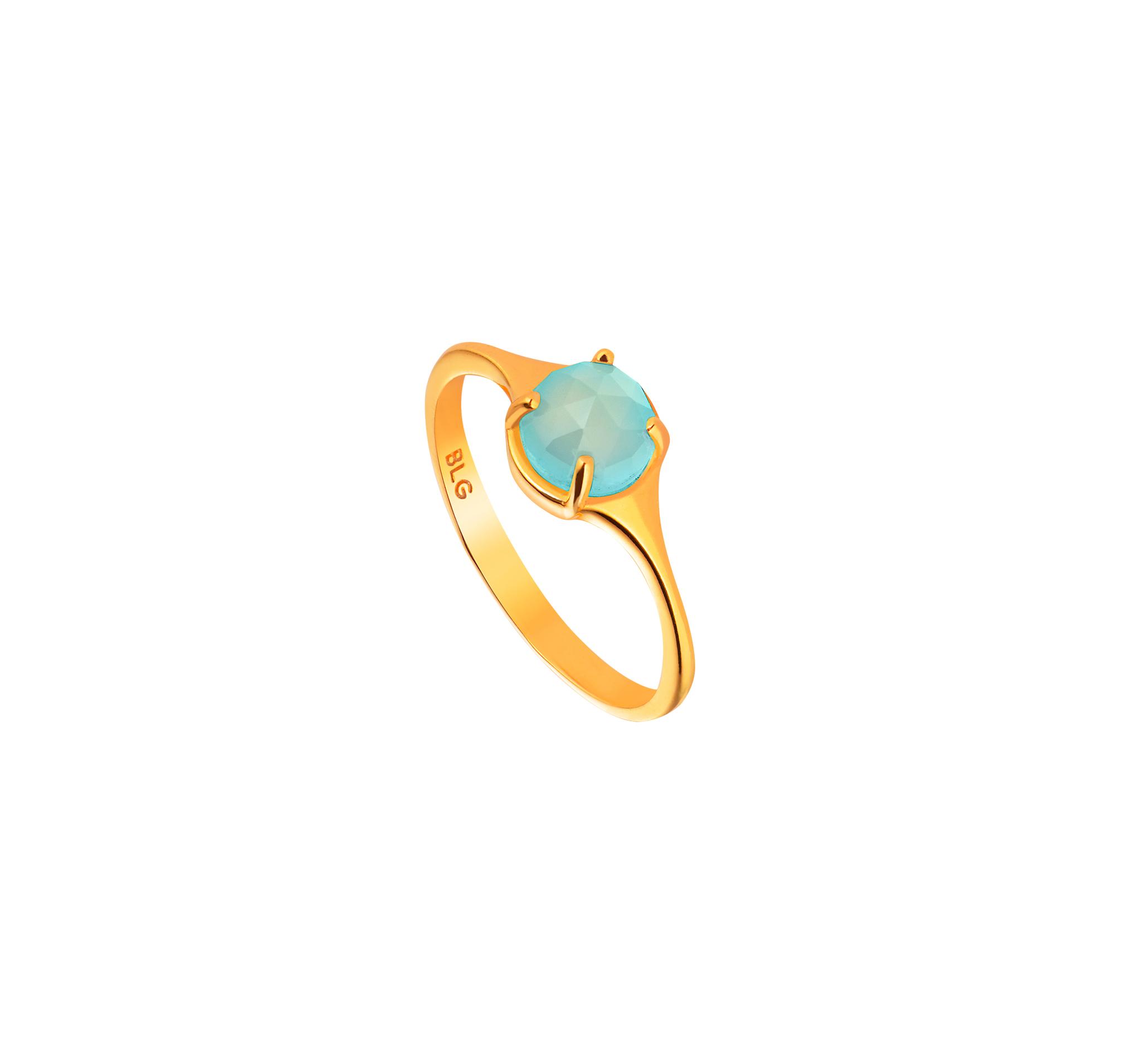 Кольцо из серебра, покрыто позолотой и натуральным голубым халцедоном