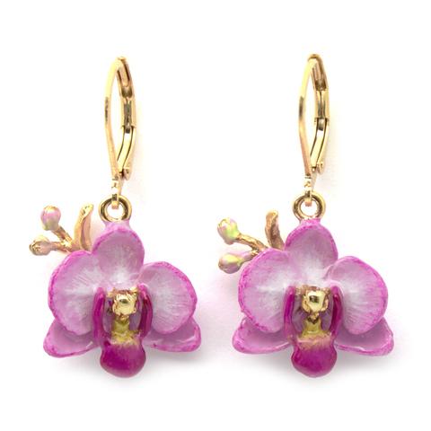 Серьги Орхидея (сиреневая)