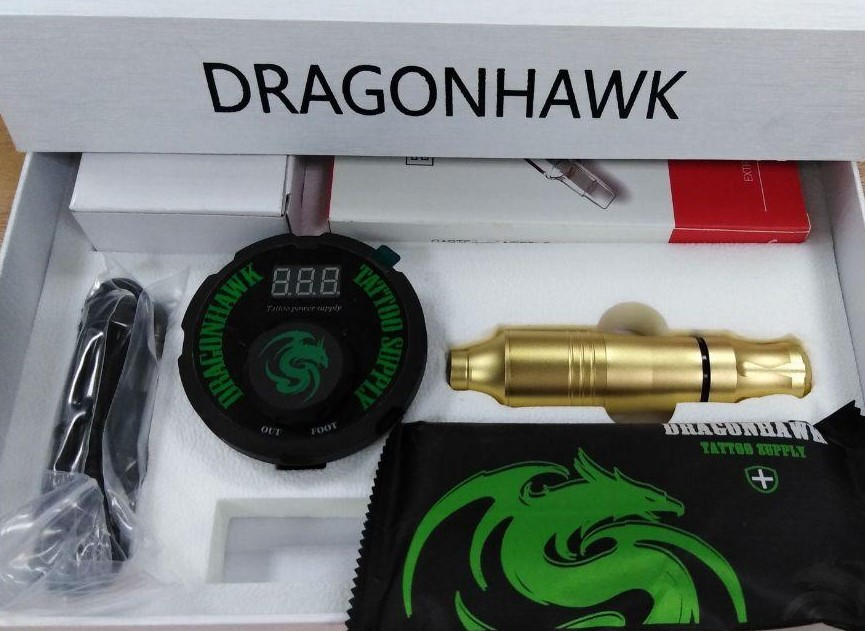 Тату-набор Mast Kit: роторная машинка для тату и перманента Dragonhawk Pen Wq090+Блок Питания Dragonhawk Airfoil Tattoo Power Supply P087+картриджи