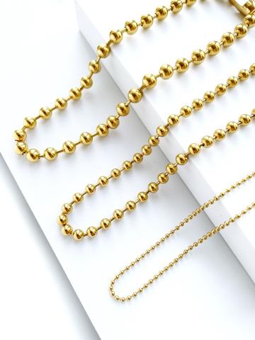 Цепь базовая плетения перлина 8 мм / gold tone /