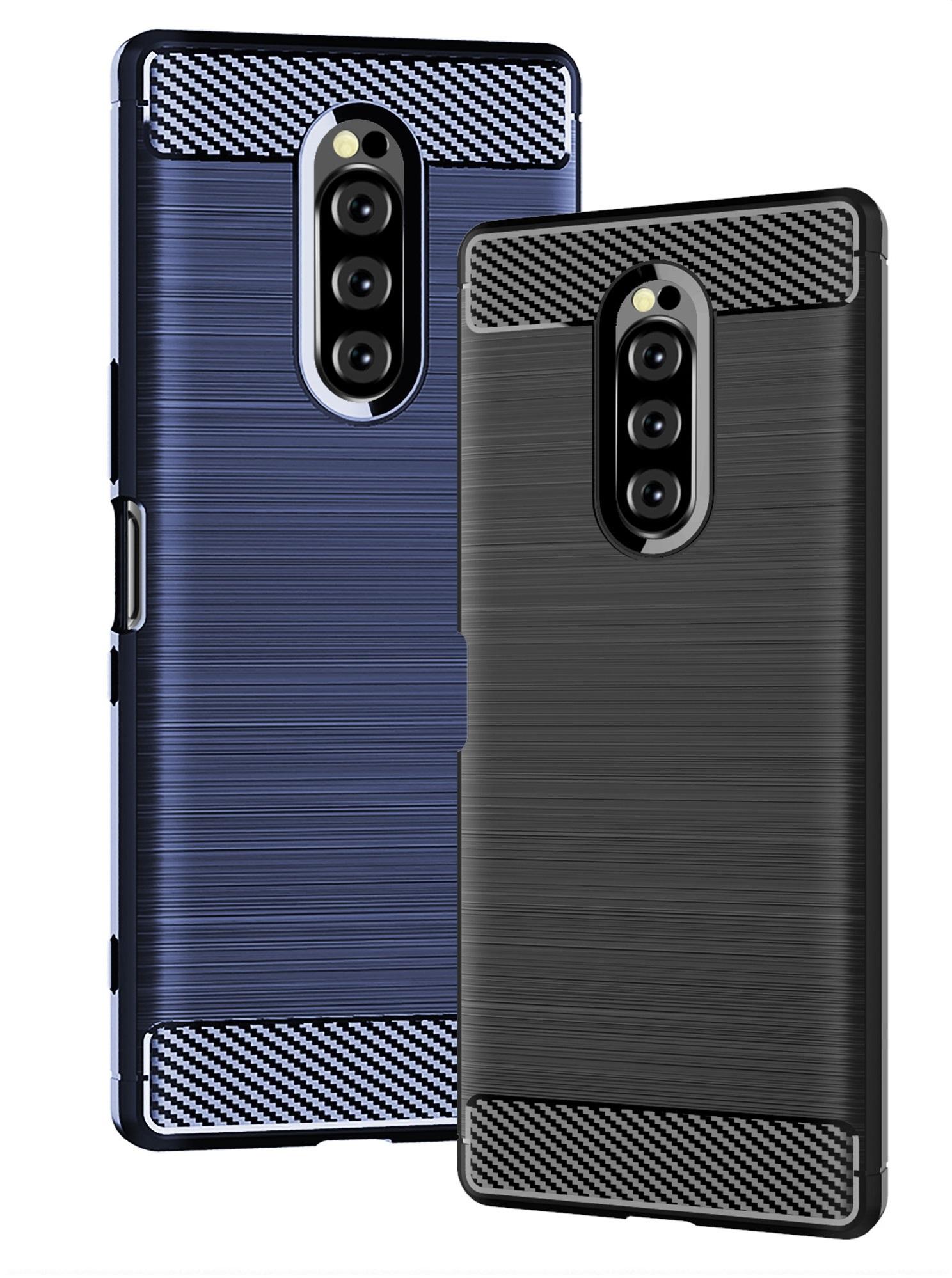 Чехол на Sony Xperia 1 цвет Blue (синий), серия Carbon от Caseport