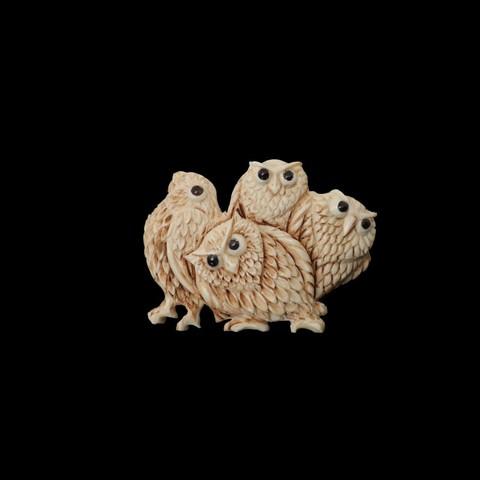 Брошь из бивня мамонта «Четыре совы»