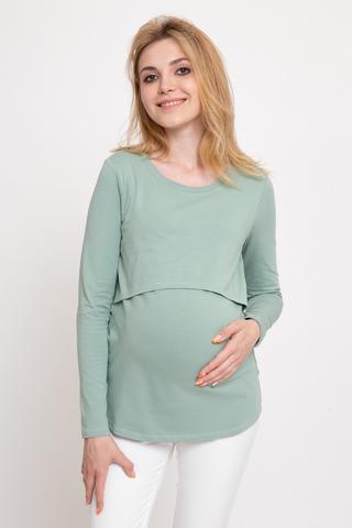 Лонгслив для беременных и кормящих 11089 мятный