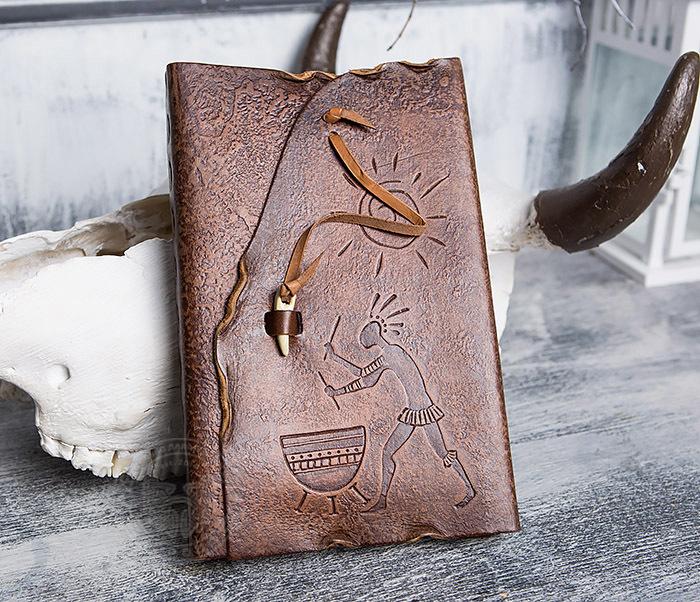 BY01-06-05 Прикольный кожаный блокнот «Держи Ритм» с застежкой - клыком (А5) фото 02