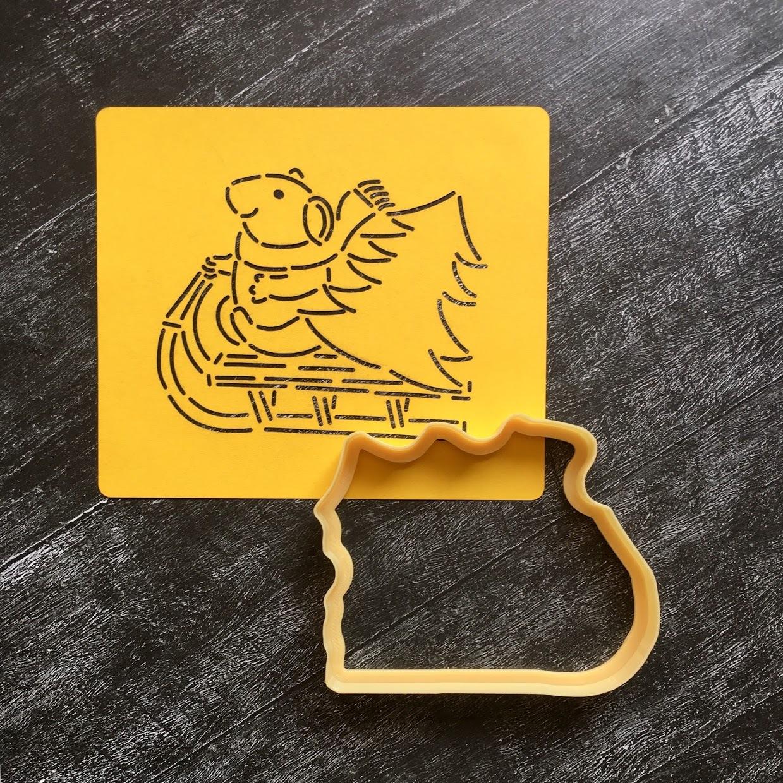 Мышка №6 с ёлочкой на санках