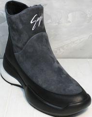 Зимние ботинки женские натуральная кожа Jina 7195 Leather Black-Gray