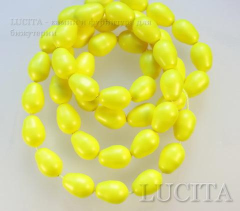 5821 Хрустальный жемчуг Сваровски Crystal Neon Yellow грушевидный 11х8 мм