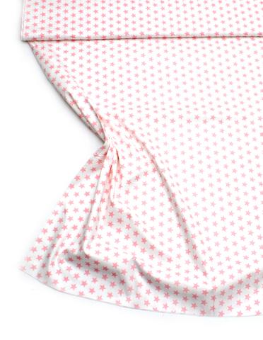 Звезды розовые на белом, 12 мм