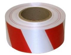 Лента сигнальная 50ммх200м бело-красная