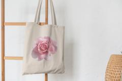 Сумка-шоппер с принтом Цветы (Розы) бежевая 002