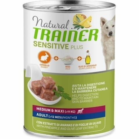 Trainer Natural Sensitive Plus влажный корм для собак средних и крупных пород с кроликом и рисом - 400 г
