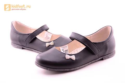 Туфли для девочек из натуральной кожи на липучке Лель (LEL), цвет черный. Изображение 12 из 18.