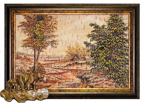 "Картина на бересте ""Два медведя"" (пейзаж №9)"