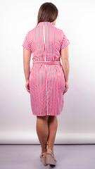 Ірина. Стильна сукня-сорочка великих розмірів. Смуга червона.