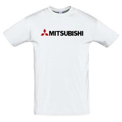 Футболка с принтом Митсубиси (Mitsubishi) белая 2