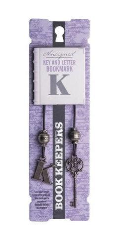 Bookmark Antiqued: Key and Letter  - Letter K