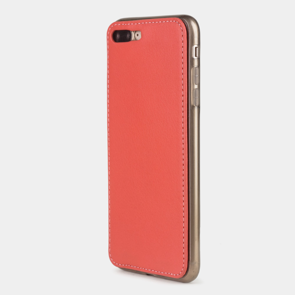 Чехол-накладка для iPhone 7 Plus из натуральной кожи теленка, кораллового цвета