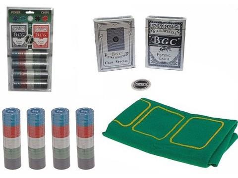 Набор для игры в покер. 200 фишек с номиналом, фишка дилера, 2 колоды карт, сукно. :(QH-200):