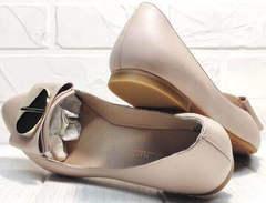 Лодочки женские туфли на низком ходу Wollen G192-878-322 Light Pink.