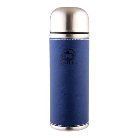 Термос Арктика (1 литр) с узким горлом, синий, кожаная вставка