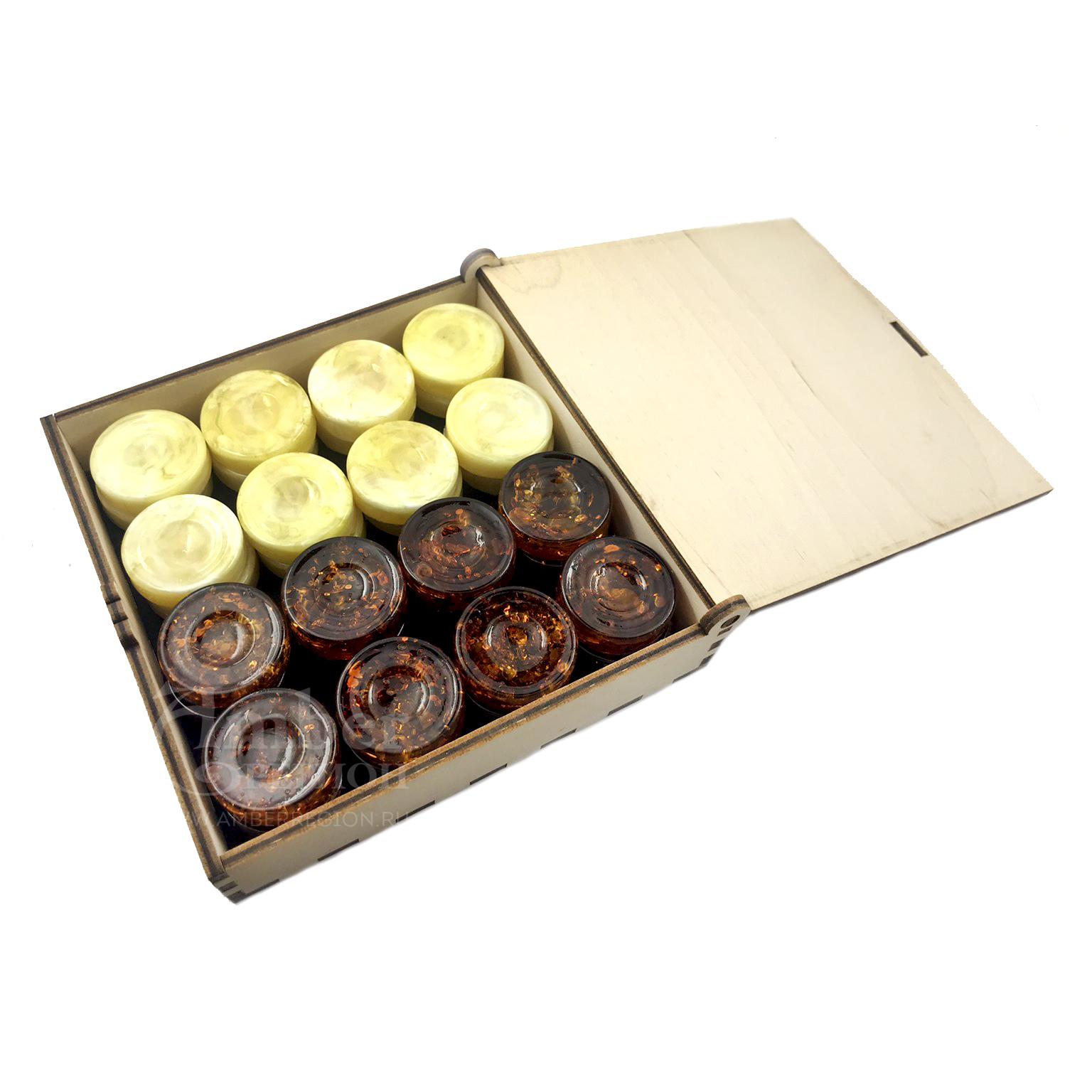 Шашки-нарды (цвет коньячный - слоновая кость) 5 комплектов