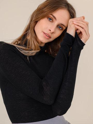 Женская водолазка черного цвета из 100% шерсти - фото 5