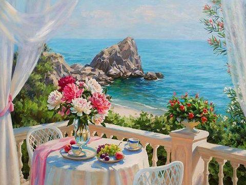 Алмазная Мозаика 40x50 Завтрак у моря (арт. MGL3606 )