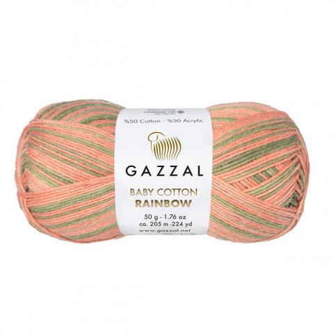 GAZZAL Baby Cotton Rainbow (50% хлопок 50% акрил, 50г/205м)