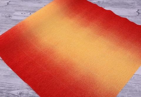 Гофрированная бумага с переходом. цвет 576/9 желто-красная, 180г, 50х250 см, Cartotecnica Rossi (Италия)